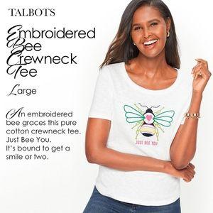 Talbots Embroidered Bee Crewneck Tee